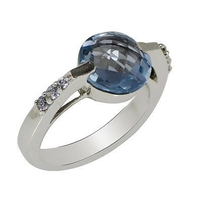 Fabulous Blue Topaz Gemstone Solid 925 Sterling Silver Jewelry Ring S 6 SHRI0467
