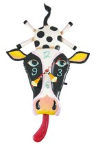Allen Designs Cow Cream with Tongue Pendulum Childs Kids Whimsical Wall ... - $52.00