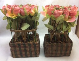 Pink Rose Arrangement With Jute Cover Vase Set of Two. - $10.50