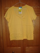 Fresh Produce Top M Sunny Yellow Scoop Neck Henley NWT - $18.99