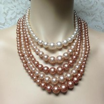 Vintage, 5-Layers, Faux Pink Pearls,  16-17 inch Choker- Necklace - $18.95