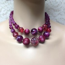Vintage, 2-Layers, Red and Purple Beads, 16in Choker-Necklace - $11.35