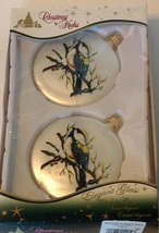 Krebs Set 2 Glass Christmas Ornaments Shimmery Winter Blue Birds - $15.79