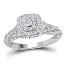 10kt White Gold Womens Round Diamond Halo Bridal Wedding Engagement Ring - $503.00