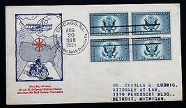 US STAMP Sc# CE1 BLOCK of 4 FDC Excellent Air Mail Society Cachet Aug 30... - $89.99