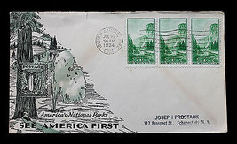 US Stamp Sc# 740 FDC EL CAPITAN YOSEMITE STRIP OF 3 National Parks Cachet  - $49.99