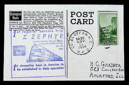 US STAMP Sc# 740 on Post Card 1st Reg. Service Trip of Zephyr Burlington... - $29.99