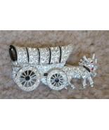 Vintage Covered Wagon Pin Brooch Rhinestone Pave Enamel Rhodium 1950's MINT - $44.55