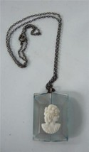 Vintage Lucite Cameo Pendant Necklace Lucite Blue Clear Laminate White Lady - $24.74