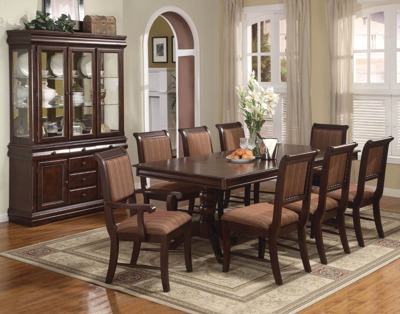 Crown Mark 2145 Dining Room Set 9pc. Merlot Cherry Finish Traditional Style