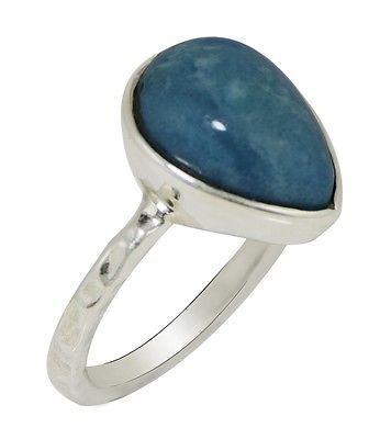 Pear Larimar Handmade 925 Sterling Silver Jewelry Band Ring Sz 7 SHRI0473