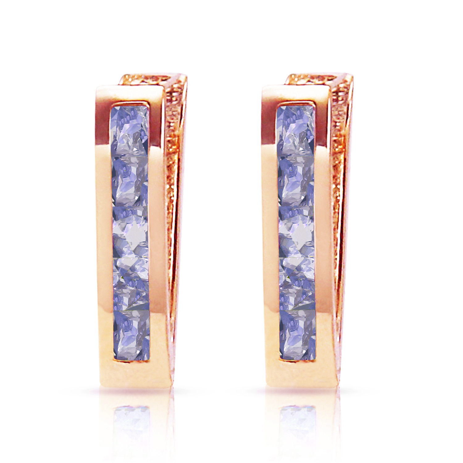 Primary image for 14K Solid Rose Gold Beautiful Tanzanite Huggie Oval Earrings 0.95 Ct