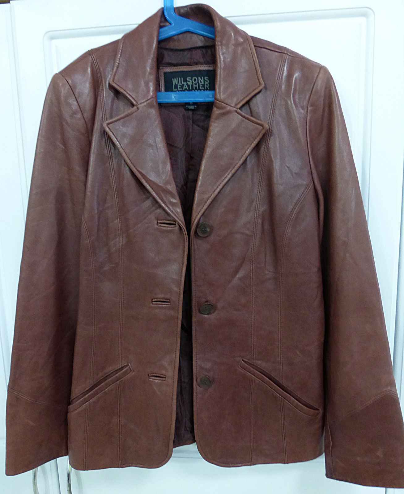 Wilsons leather pelle studio women`s solid brown leather jacket size S