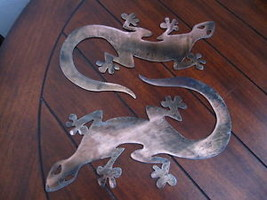 GECKO METAL WALL ART DECOR  Copper/Bronze Plated Pair - $24.74