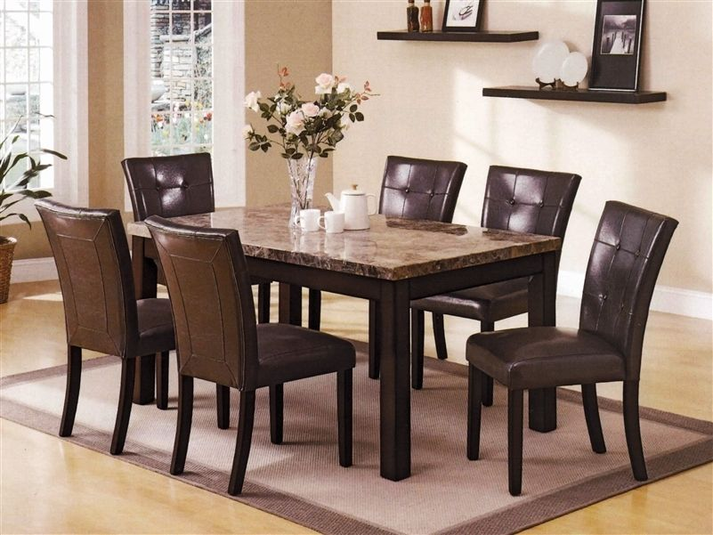 Crown Mark 2267 Dining Room Set 7pc. Bruce Faux Marble Top Transitional Style