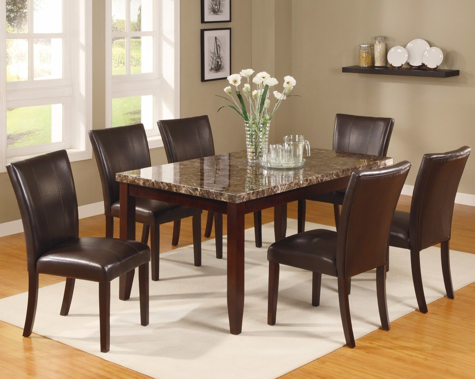 Crown Mark 2221 Dining Room Set 7pc. Ferrara Marble Veneer Top Chic Contemporary