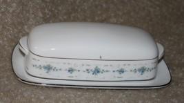 Pretty Vintage Noritake FROLIC China Butter Dish Blue Flowers White Scro... - $37.62