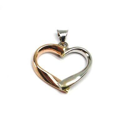 18K ROSE WHITE GOLD PENDANT ROUNDED HEART, DIAMETER 17mm, 0.67 inches, HUG