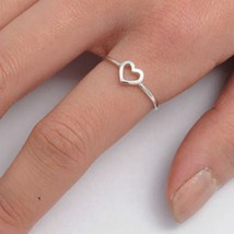 Sterling Silver ring size 10 Heart Knuckle Midi Girls Ladies Thumb Open New b57 - $8.31