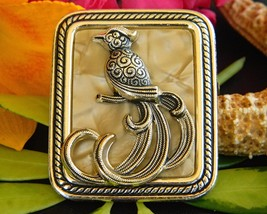 Vintage Bird of Paradise Brooch Pin Lucite Mother of Pearl Gold Tone - $24.95