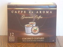 Caffe de Aroma Flavored Coconut Custard Coffee 12 Single Serve K-Cups Fr... - $9.99