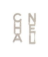 AUTH NEW CHANEL 2019 RUNWAY XL LETTER CHA NEL Crystal Dangle Drop Earrings - $899.99