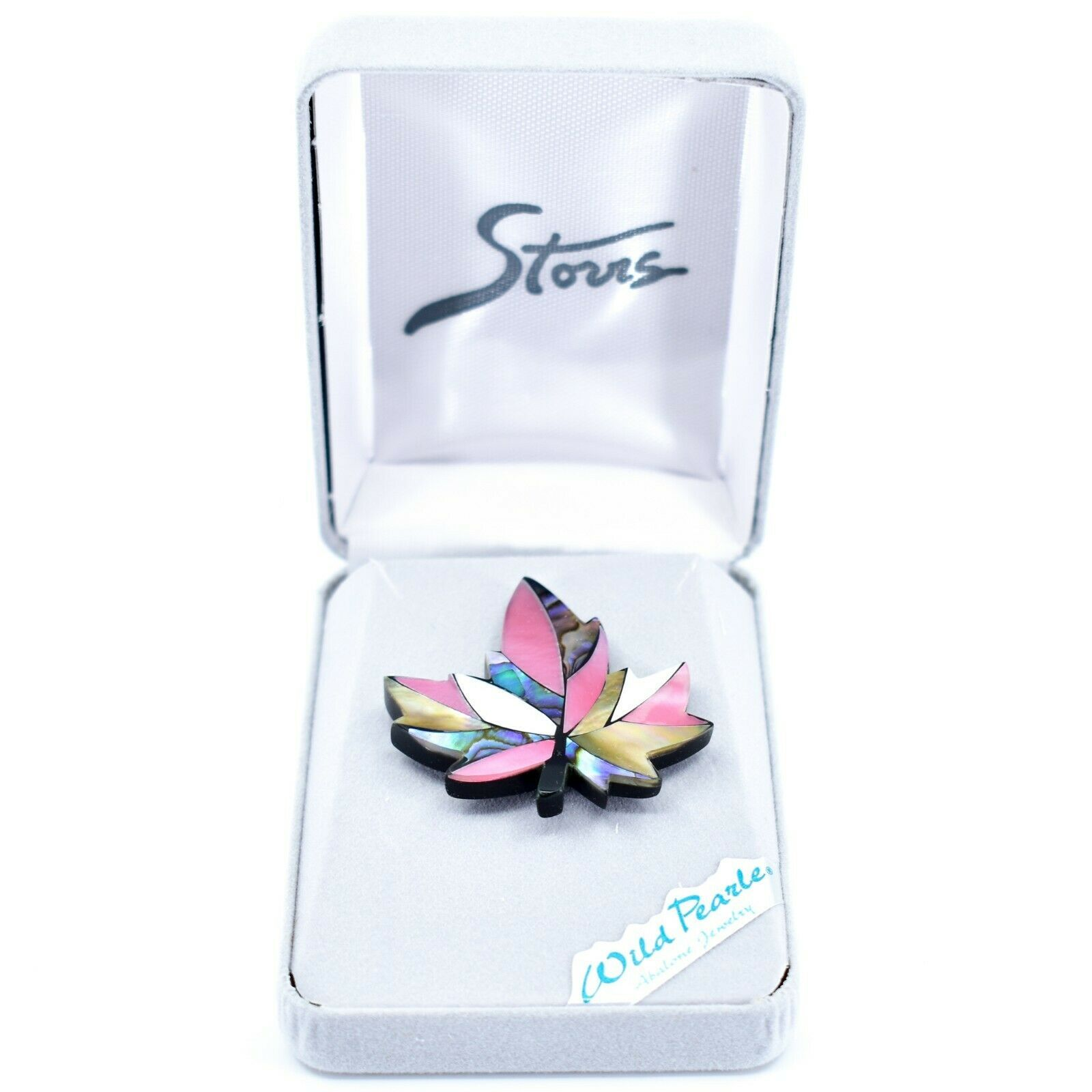 A.T. Storrs Wild Pearle Blush Abalone Shell Maple Leaf Silver Tone Pin Brooch
