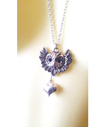 owl face heart necklace long necklaces metal silver chain handmade anima... - $5.50