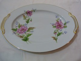 """Noritake Fine China """"Pink Poppy"""" 12"""" Oval Serving Platter with Gold Trim - $44.98"""