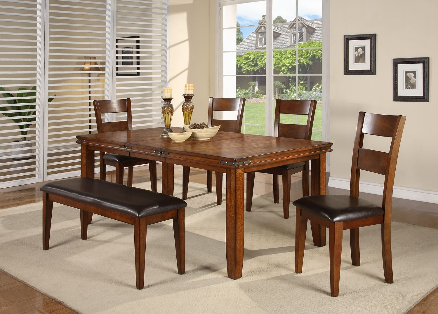 Crown Mark 2101 Dining Room Set 6pc. Figaro Chic Contemporary Modern Style