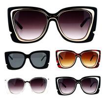 SA106 Double Frame Rectangular Oversize Cat Eye Sunglasses - $12.95