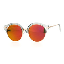 Womens Fashion Sunglasses Round Circle Accent Top Mirror Lens - $11.95