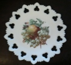 "Vintage Kemple Shell & Club Fruit Milk Glass Plate Marked K 9.5"" Apple G... - $21.92"