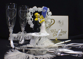 O Homer Marge Simpsons wedding Cake topper LOT Glasses - $241.56