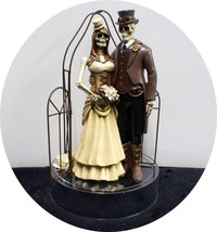 Steam Punk Skeleton Wedding Cake Topper Top Halloween Day Of The Dead Funny Cool - $68.31