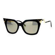 Womens Square Cateye Sunglasses Gold Accent Corner Zig Zag Side - $11.95