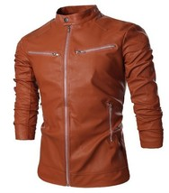 handmade Men's fashion  fit leather jacket, Mens brown slim fit leather ... - $159.00