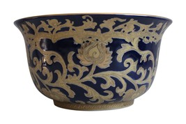 "Beautiful Navy and Gold Porcelain Tapestry Pattern Bowl 10"" Diameter - $108.89"