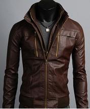 Men's Leather Jackets Korean Style Casual Slim Fit Biker leather jacket ... - $159.00