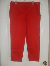Jones New York New Poppy Red Flat Front Stretch Cotton Slim Cropped Pant... - $22.99