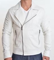 HANDMADE White leather jacket , men leather jackets, Biker leather jacke... - $149.00