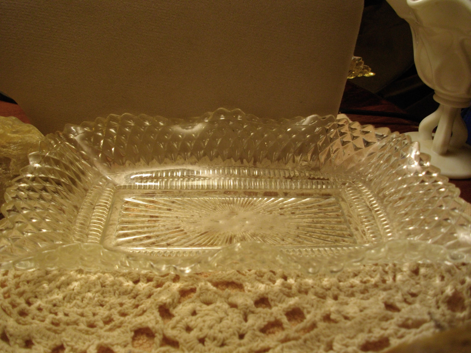Vtg Large ARTISAN Thick CLEAR GLASS Shell Shaped SCALLOPED Candy Serving DISH
