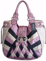 GUESS Paparazzi Patchwork Satchel Carryall Bag Purse BLACK PINK BEIGE $1... - $120.77
