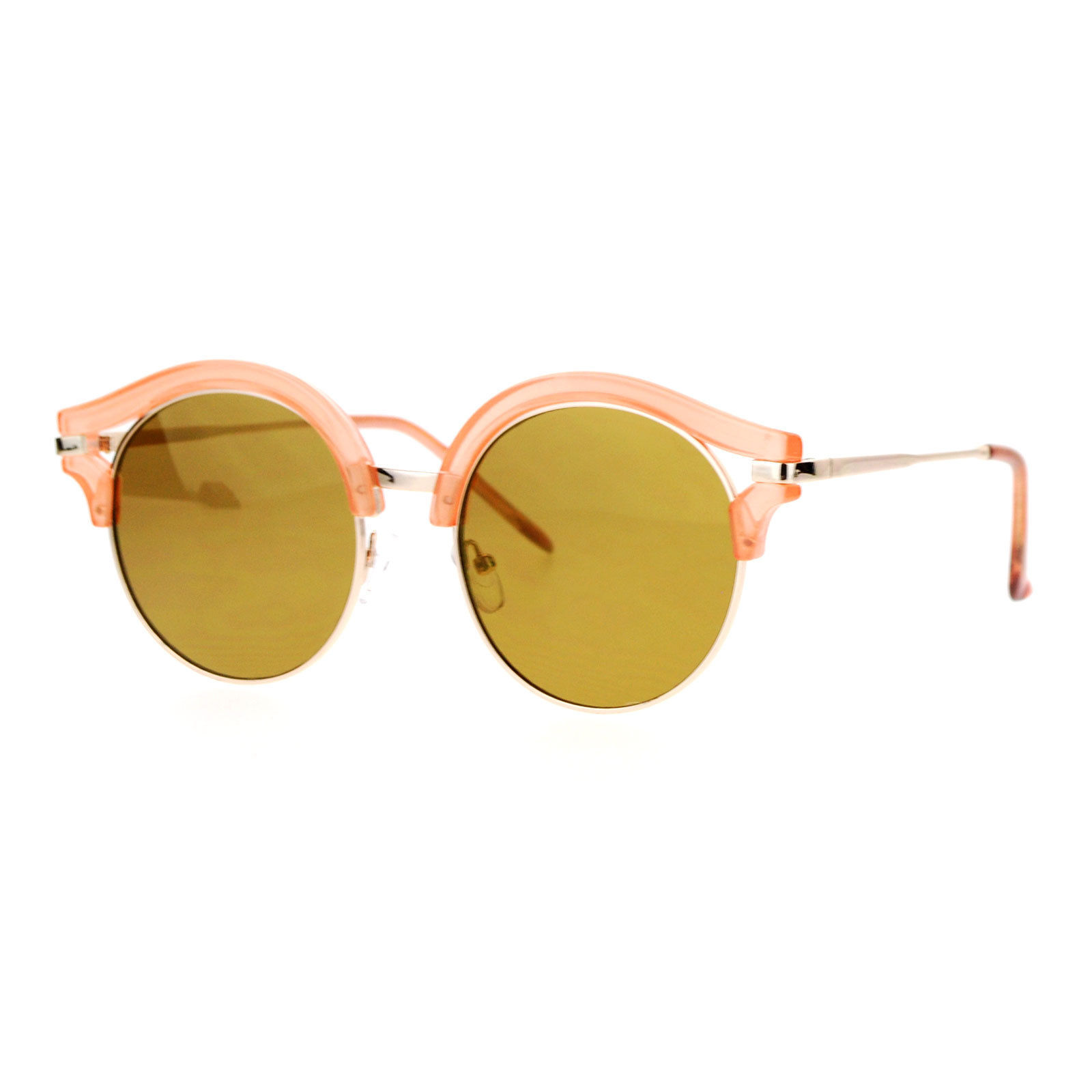 Womens Fashion Sunglasses Round Circle Accent Top Mirror Lens