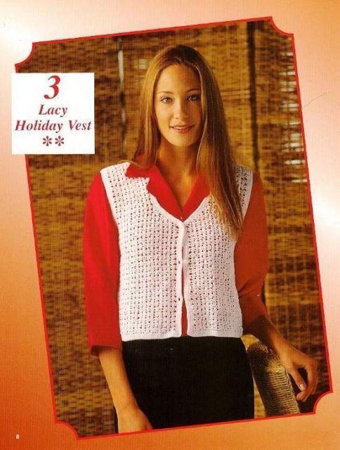 Primary image for Y856 Crochet PATTERN ONLY Ladies Lacy Holiday Vest Pattern