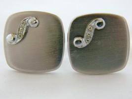 "Vintage 60s Metal Rhinestone Square Cufflinks ""S"" Initial Brushed Silver... - $18.68"