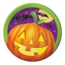 "Pumpkin Shine 8 7"" Dessert Plates Halloween Party Bats - $2.84"