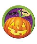 "Pumpkin Shine 8 7"" Dessert Plates Halloween Party Bats - $54,18 MXN"