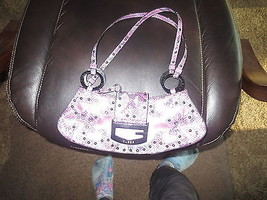 Guess Purple Snake Print Stud Hobo Handbag Purse - $18.53