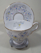 Royal Stafford Bluebell Time Footed Cup and Saucer Set Floral Pattern Go... - $27.99
